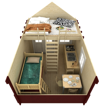 Cabin bunkie kits prefab cabins bunkies kits log for Sleeping cabin plans